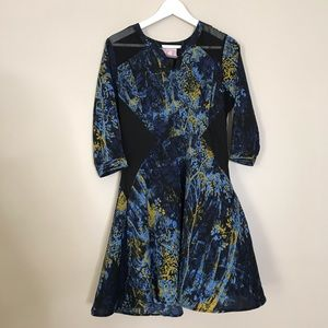 Romeo & Juliet Blue Sheer Skater Dress. Size small
